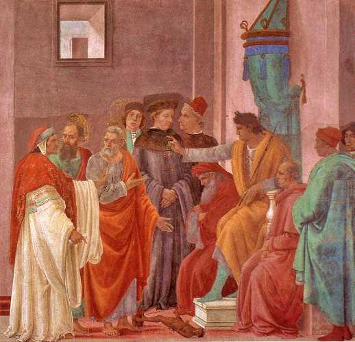 """""""Οι Απόστολοι Παύλος και Πέτρος αντιμετωπίζουν τον Μάγο Σίμωνα ενώπιον του Νέρωνα"""", πίνακας του Ιταλού ζωγράφου Filippino Lippi"""