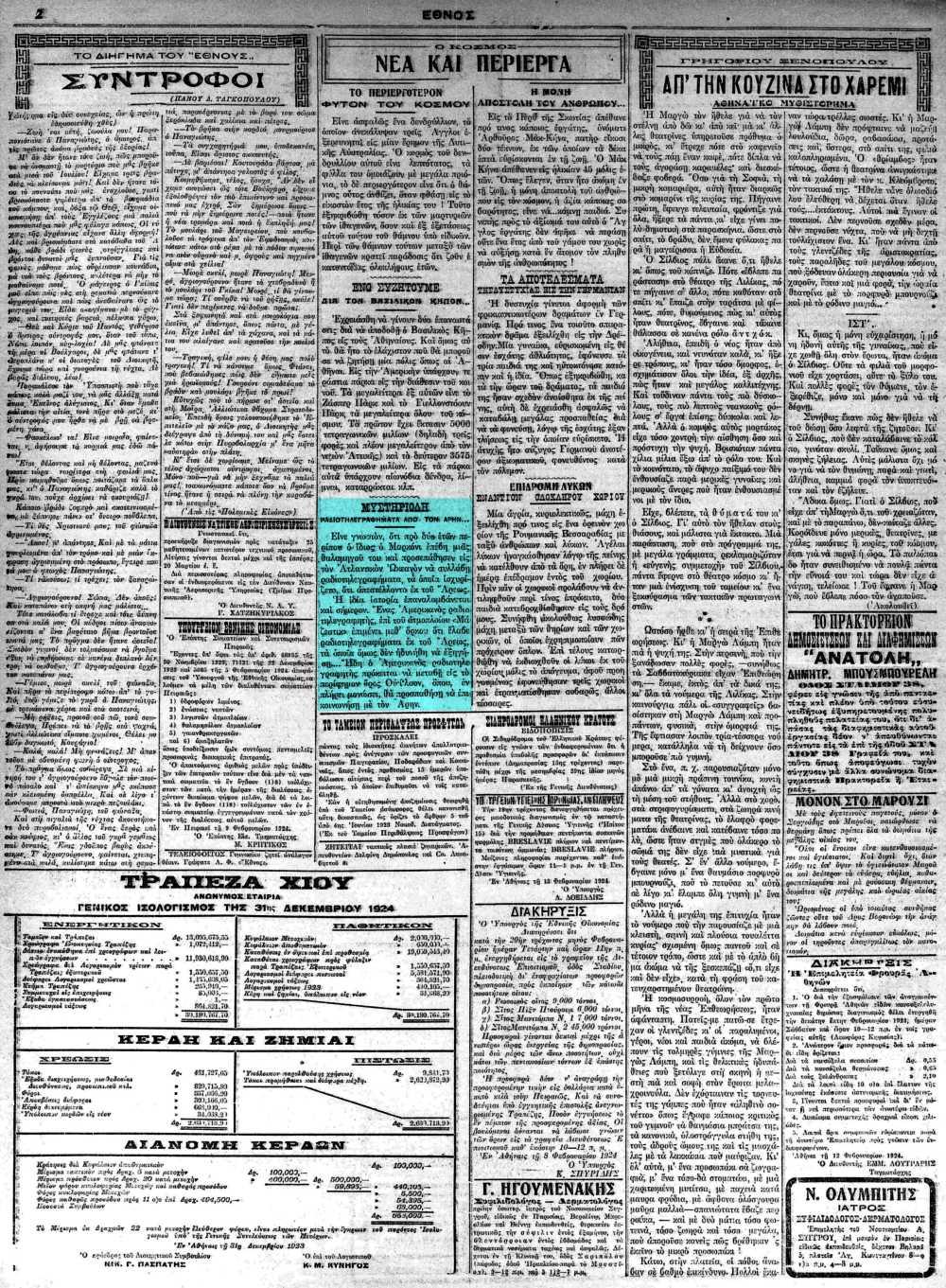 """Το άρθρο, όπως δημοσιεύθηκε στην εφημερίδα """"ΕΘΝΟΣ"""", στις 13/02/1924"""