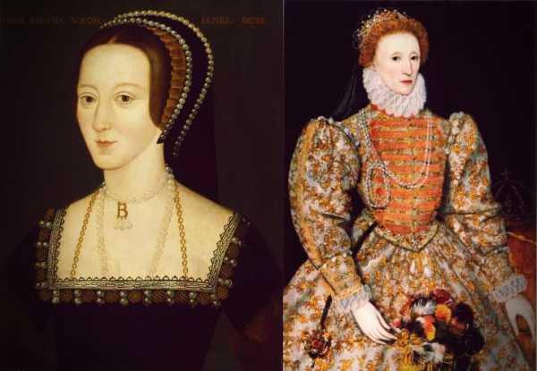 Αριστερά, η Anne Boleyn (1501 - 1536). Δεξιά, η Ελισάβετ Α' (1558 - 1603)