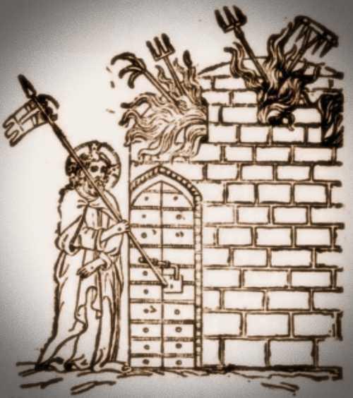 Ο Ιησούς μπροστά στην πύλη του Άδη (από χειρόγραφο της Αμβροσιανής Βιβλιοθήκης στο Μιλάνο, 14ος αιώνας)