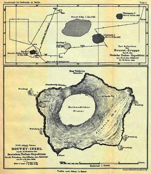 Γερμανικός χάρτης του 1898, στον οποίο απεικονίζεται το σύμπλεγμα των νήσων Thompson – Bouvet