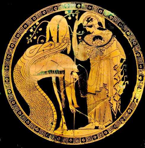 Αττική ερυθρόμορφη ζωγραφική κύλικος περί 480-470 π.Χ. που δείχνει την Αθηνά να παρακολουθεί καθώς ο δράκος της Κολχίδας εξεμεί τον ήρωα Ιάσονα