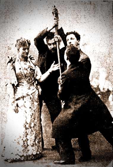 Η Annie Abbott (αριστερά), κατά τη διάρκεια του περίφημου πειράματος με τη στέκα του μπιλιάρδου