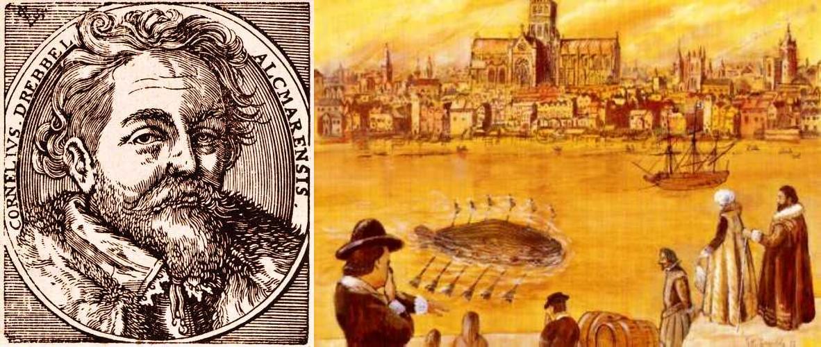 Αριστερά. ο Cornelis Drebbel (1572 - 1633) και δεξιά, πίνακας που απεικονίζει το πρώτο του υποβρύχιο