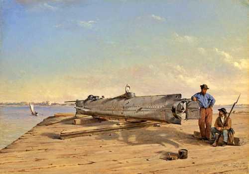 """Το υποβρύχιο """"H.L.Hunley"""" (πίνακας του 1863)"""