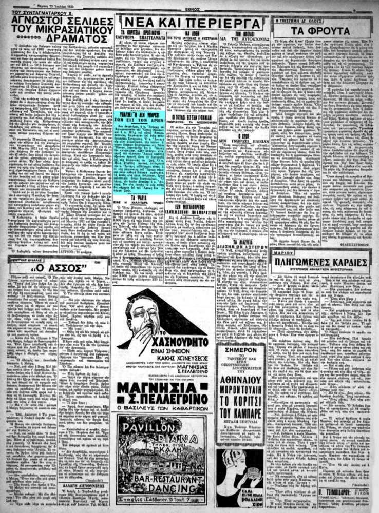 """Το άρθρο, όπως δημοσιεύθηκε στην εφημερίδα """"ΕΘΝΟΣ"""", στις 13/07/1933"""