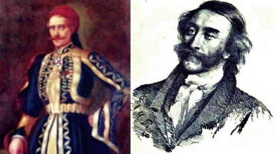 Αριστερά ο Γεώργιος Αινιάν (1788 - 1848) και δεξιά ο Ιάκωβος Ρίζος Νερουλός (1778 - 1849)