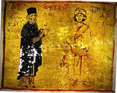 Ο Μιχαήλ Ψελλός (αριστερά) με τον μαθητή του, αυτοκράτορα Μιχαήλ Ζ' Δούκα