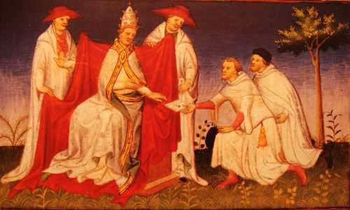 Ο Νικολό και ο Ματέο Πόλο, γονατιστοί μπροστά στον Πάπα Γρηγόριο Ι', επιδίδοντάς του επιστολή από τον Κουμπλάι Χαν