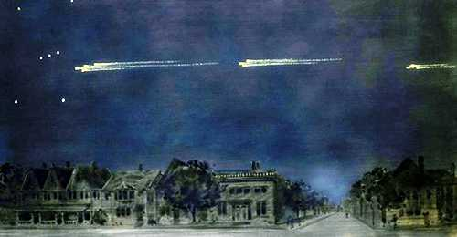 Πίνακας του Gustav Hahn (27/07/1866 - 01/12/1962), στον οποίο απεικονίζεται το ουράνιο φαινόμενο της 9ης Φεβρουαρίου 1913