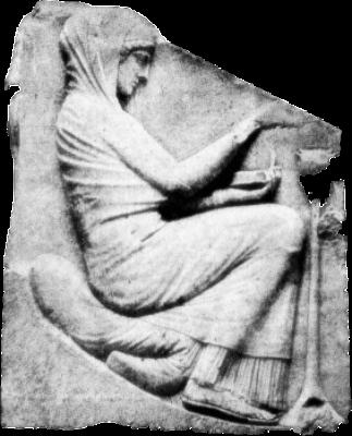 Κόρη των Αθηνών, προσφέροντας θυσία στην προστάτιδά της θεά, από την οποία έχει να ζητήσει κάποια χάρη (Ανάγλυφο του λεγόμενου Θρόνου του Διός, στο Μουσείο των Θερμών στη Ρώμη)