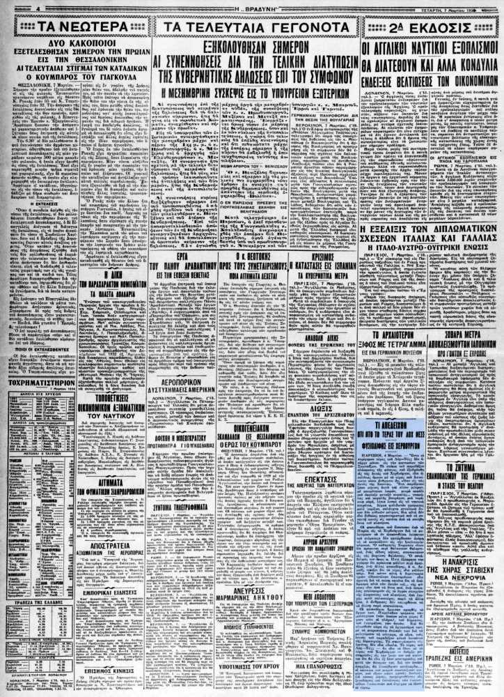 """Το άρθρο, όπως δημοσιεύθηκε στην εφημερίδα """"Η ΒΡΑΔΥΝΗ"""", στις 07/03/1934"""