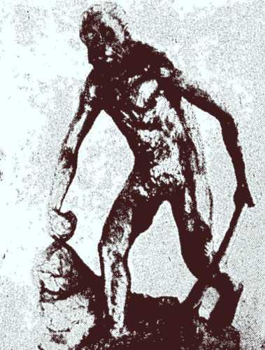 Ο άνθρωπος του σπηλαίου των Πετραλώνων, όπως τον αναπαράστησε ο Άρης Πουλιανός