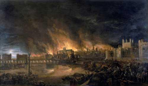 Η μεγάλη πυρκαγιά του Λονδίνου του 1666, όπως απεικονίστηκε σε πίνακα άγνωστου καλλιτέχνη το 1675