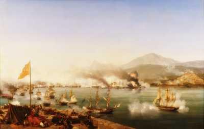 """""""Η ναυμαχία του Ναυαρίνου"""", ελαιογραφία του Γάλλου ζωγράφου Louis Ambroise Garneray (1783 - 1857)"""