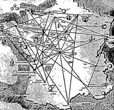 Ο αποκαλυπτικός αυτός χάρτης του Aime Michel συνοψίζει μια ημέρα ιπτάμενων δίσκων: την 7η Οκτωβρίου 1954. Οι παρατηρήσεις, συνδεδεμένες μεταξύ τους, σχηματίζουν, πράγματι, έναν περίεργο ιστό αράχνης.