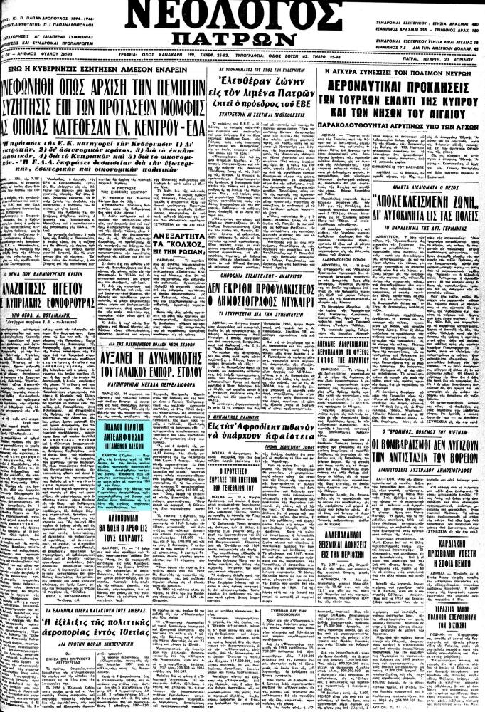 """Το άρθρο, όπως δημοσιεύθηκε στην εφημερίδα """"ΝΕΟΛΟΓΟΣ ΠΑΤΡΩΝ"""", στις 20/04/1966"""